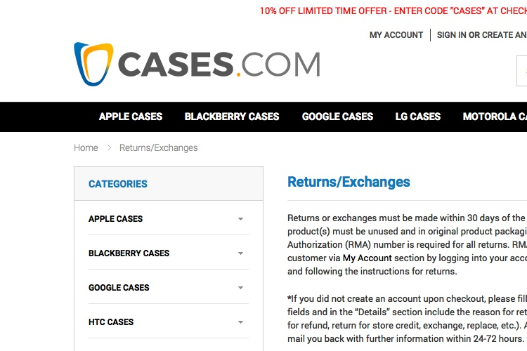 Screenshot of Cases Returns & Exchanges