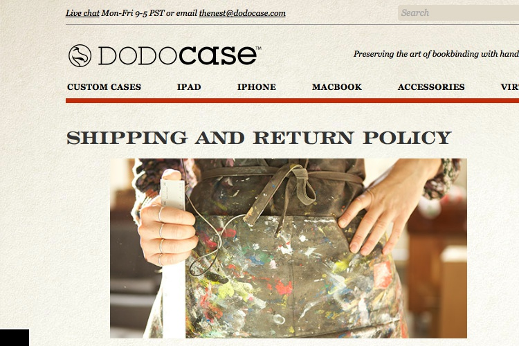 Screenshot of DODOcase Shipping & Return Policy Exchanges &