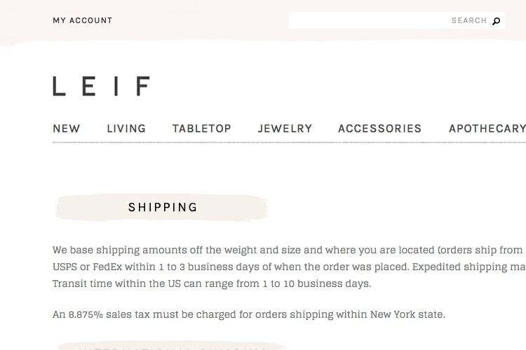 Screenshot of LEIF Shipping Returns