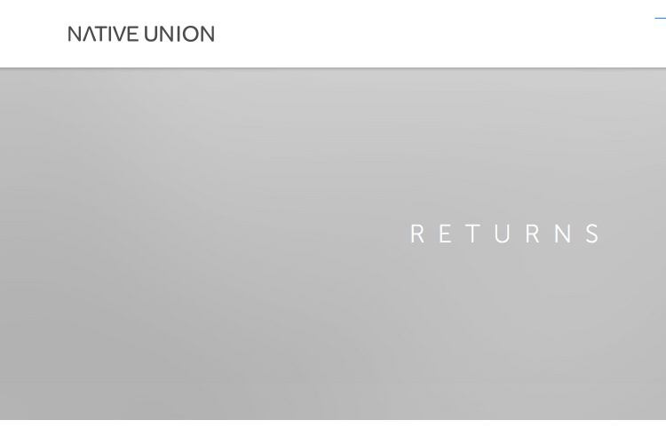 Screenshot of Native Union Returns