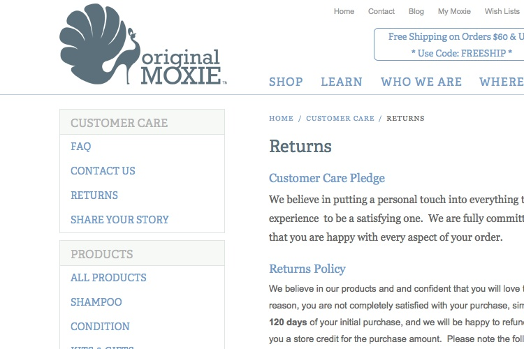 Screenshot of Original Moxie Returns