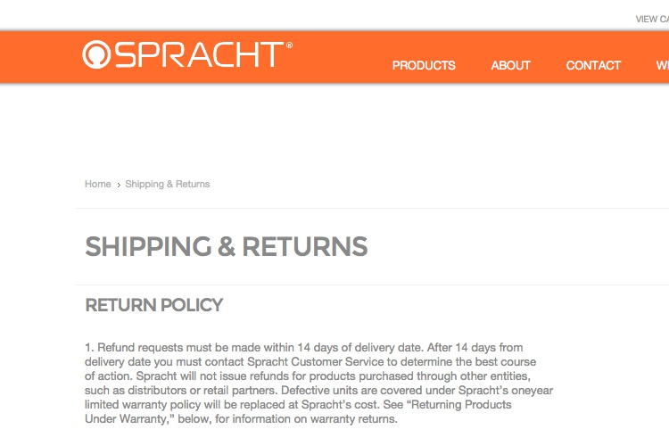 Screenshot of Spracht Shipping & Returns