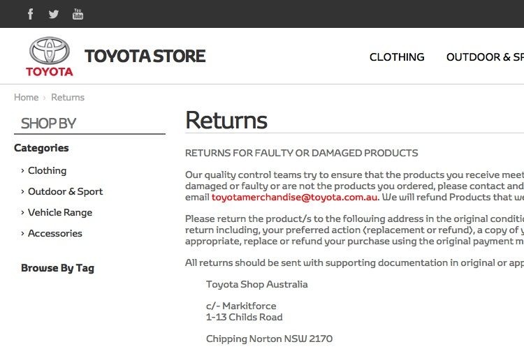 Screenshot of Toyota Returns