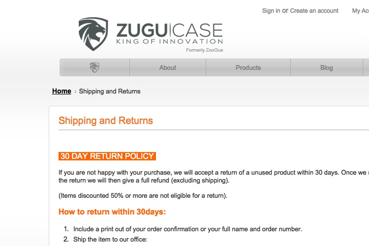 Screenshot of Zugu Case Shipping and Returns