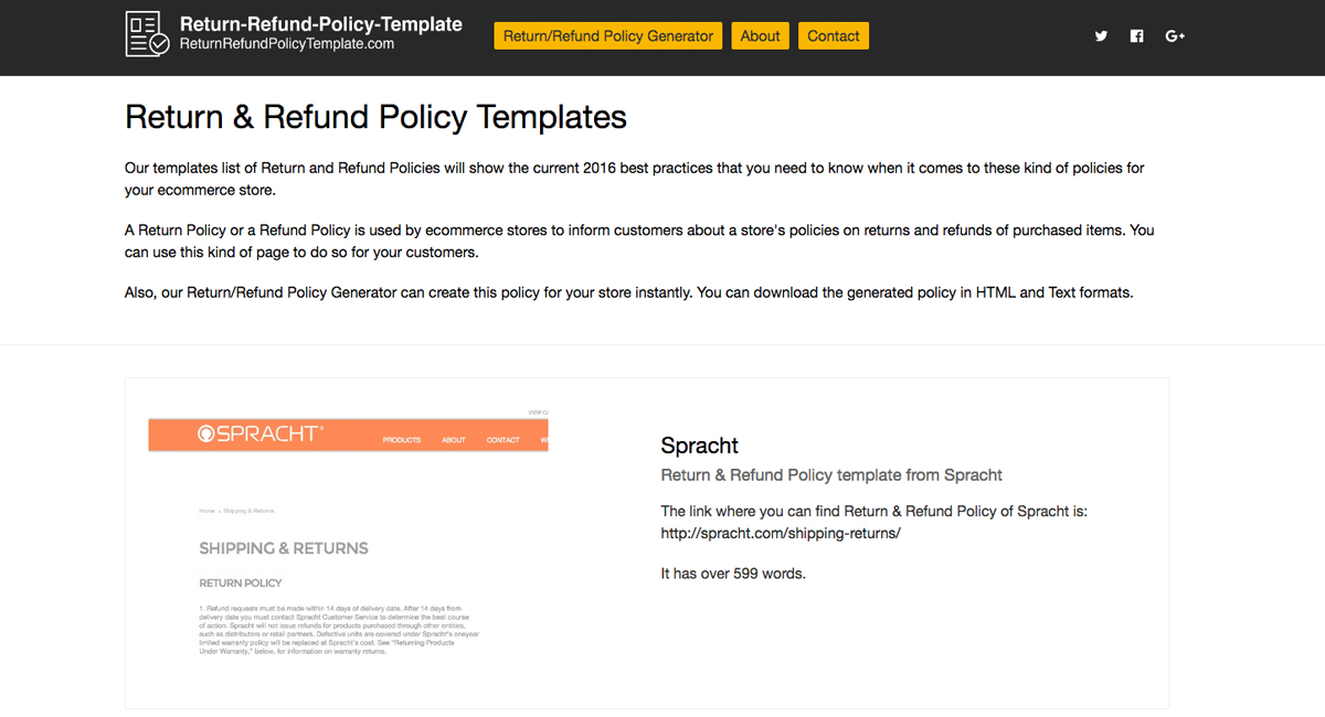 Return & Refund Policy Templates And Generator